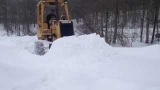 getlinkyoutube.com-Caterpillar D3 Dozer Plowing Snow and Chevy Truck Recovery