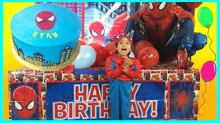 getlinkyoutube.com-GIANT SURPRISE BOX OPENING Spiderman Power Wheels Ride-On Happy Birthday Toys Cars Egg Surprise