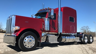 getlinkyoutube.com-Legendary Red Metallic 2018 Peterbilt 389 X15 Cummins 2050 Torque 3 axle Disc Brakes