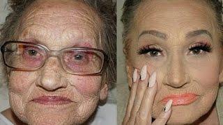 getlinkyoutube.com-Croatian Makeup Artist Makes Her Beautiful Grandma Look Younger With Contouring