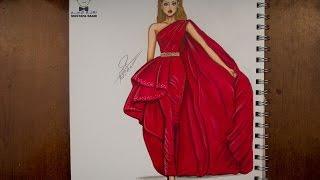 getlinkyoutube.com-تعليم رسم وتصميم الازياء مع التلوين  how to draw fashion
