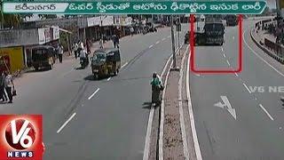 getlinkyoutube.com-Police Released Accident Visuals    Lorry Hits Auto In Bejjanki    Karimnagar    V6 News