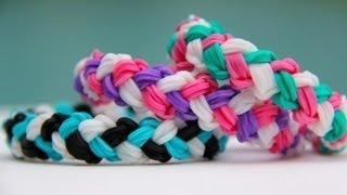 getlinkyoutube.com-Rainbow Loom Double Braid Bracelet - Armband - Loom bands