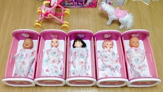getlinkyoutube.com-メルちゃん ぽぽちゃん みんなでベッドでおねんね / Doll Crib , It's Bedtime , 5 Babies Doll