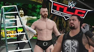 WWE 2K16 - Gameplay - Amarraron el titulo con un candado Roman Reigns Vs Sheamus en TLC