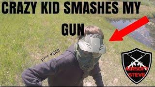getlinkyoutube.com-CRAZY AIRSOFTER SMASHES MY GUN AGAINST TREE