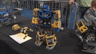 getlinkyoutube.com-lego technic Transformer, Mindstorms Robot Hand, V8 Engine, Unimog, Barman on legoworld 2013