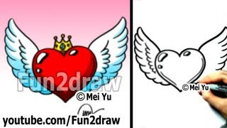 getlinkyoutube.com-How to Draw a Heart with Wings and Crown (easy drawing tutorial) - Art Lessons - Fun2draw