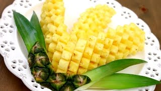 Art In Pineapple Garnish | Fruit Carving | Pineapple Food Art | Party Garnishing