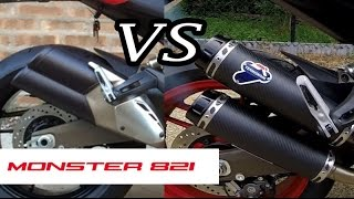 Ducati Monster 821 Race Termignoni VS Stock exhaust sound