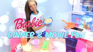 Unbox Daily:  Barbie Dinner & Movie Fun Playset Review - Dollhouse Accessories - 4K