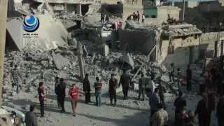 دمار كبير في الشيخ خضر بعد القصف الجوي على الحي ظهر اليوم 24 / 2 / 2014
