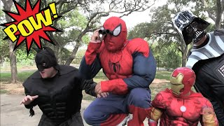 getlinkyoutube.com-Kid Heroes 14 - Spiderman, Iron Man, and Evil Batman in an Epic Nerf War with DARTH VADER!