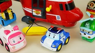 getlinkyoutube.com-Robocar Poli car toys Helicopter rescue and Tayo bus