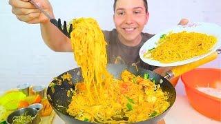 PAD THAI NOODLES • ผัดไทย • Mukbang & Recipe
