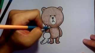 getlinkyoutube.com-ระบายสี วาดการ์ตูนกันเถอะ วาดรูปการ์ตูน หมี brown line