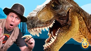 getlinkyoutube.com-GIANT DINOSAUR CHASE Jurassic Adventure at Grand Canyon w/ T-Rex Raptors in Real Life Kids Toy Video