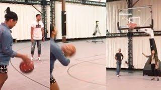 getlinkyoutube.com-Stephen Curry's Pregnant Wife Ayesha Nails 3 Pointer