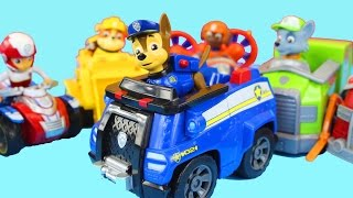 getlinkyoutube.com-Paw Patrol Marshall Chase Rocky Rider Skye Zuma Rubble Nickelodeon Vehicle Set Police Dog
