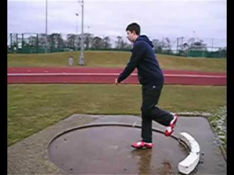 Rotational shot put drills set 1 drill 3 - Run through to knee