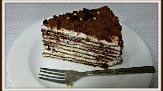 getlinkyoutube.com-كيكة طبقات الشوكولا الرقيقة الروسية  Chocolate Layers Cake Recipe