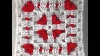 getlinkyoutube.com-Cornered Hearts: Crochet Friendship Square Project 2011