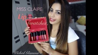 Miss Claire lip swatches INDIAN REVIEW