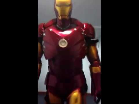 Walking in the fiber glass ironmna suit.1