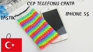 getlinkyoutube.com-Lastik Bant basit yapimi CEP TELEFONU ÇANTA IPHONE - DIY Türkce - Çanta rainbow loom nasil yapilir