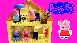 getlinkyoutube.com-Peppa Pig Blocks Mega House Construction Set - Juego de Construcciones Playset con Mamá Papá Cerdita