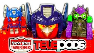 Angry Birds Transformers Optimus Prime Bird Raceway Telepods Gaming Toy Review