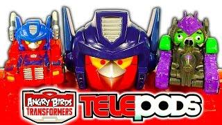 getlinkyoutube.com-Angry Birds Transformers Optimus Prime Bird Raceway Telepods Gaming Toy Review