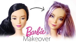 getlinkyoutube.com-Barbie Makeover: Doll Repaint #4 - Barbie Made To Move