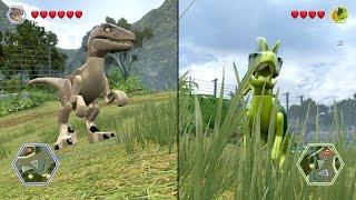 getlinkyoutube.com-LEGO Jurassic World - Velociraptor vs Dilophosaurus - CoOp Fight | Free Roam Gameplay [HD]