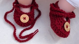 getlinkyoutube.com-Tie Up Crochet Baby Booties - Crochet Baby Booties