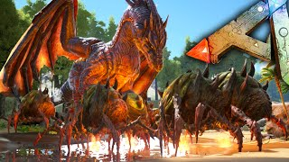 getlinkyoutube.com-Ark Survival Evolved - Dragon VS Broodmother Army Gameplay / Fails, Funny Moments