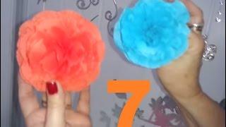Aula 7 - Como fazer Flores de papel crepom detalhada (CLOSE) - Artesanato
