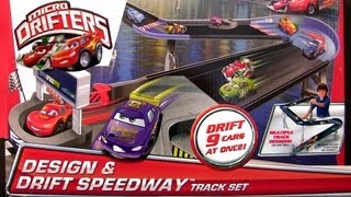 getlinkyoutube.com-Micro Drifters Design n Drift Speedway Track Playset Race 9 cars at once CARS 2 Disney toys