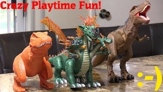 getlinkyoutube.com-Dinosaur World: Dragon and T-Rex Dinosaur Toys Unboxing and Playtime w/ Hulyan and Maya
