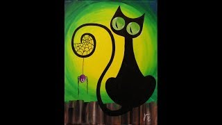 getlinkyoutube.com-Spooky the Cat Step by Step Acrylic Painting on Canvas for Beginners