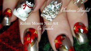 getlinkyoutube.com-Christmas Chrome Nails | Poinsettia and Snowman Nail Art Design Tutorial