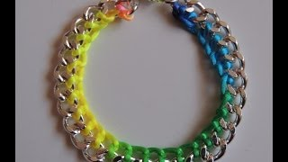 getlinkyoutube.com-DIY Tutorial Pulsera fluor con cadena y cola de raton (Video mejorado) Bracelet chain fluor.