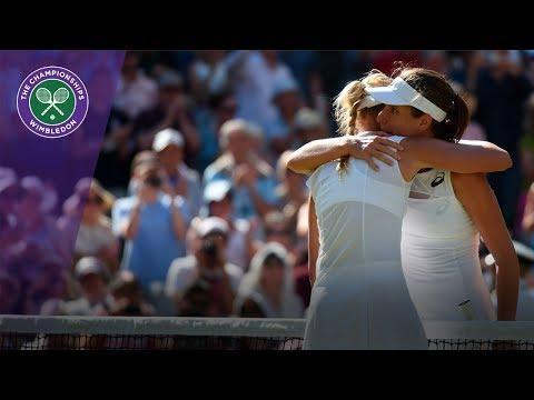 Wimbledon 2017 - Johanna Konta comforts Donna Vekic after three-set thriller