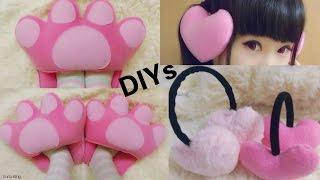 getlinkyoutube.com-Cute & Warm Winter DIYs: DIY Ear Muffs + DIY Cat Paw Feet Warmer Slippers/Cushion