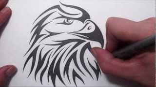 getlinkyoutube.com-How to Draw an American Eagle Head - Tribal Tattoo Design Style
