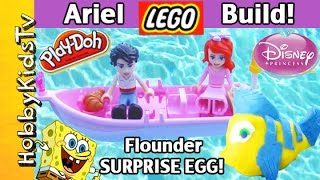 getlinkyoutube.com-Little Mermaid Ariel LEGO Build + Play-Doh SURPRISE EGG! HobbyKidsTV