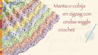 getlinkyoutube.com-Cobija zig zag con ondas wiggle tejida a crochet en varios tamaños/ English subtitles