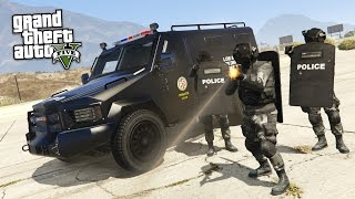 getlinkyoutube.com-GTA 5 PLAY AS A COP MOD - SWAT w/ RIOT SHIELDS TAKEOVER!! SWAT Police Patrol!! (GTA 5 Mods Gameplay)