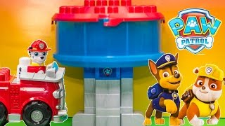 getlinkyoutube.com-PAW PATROL Nickelodeon Ionic JR Lookout HQ with Firemen Marshalll Toys Video Unboxing