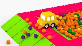 getlinkyoutube.com-Мультики для самых маленьких. 4 машинки. Сухой бассейн с шариками